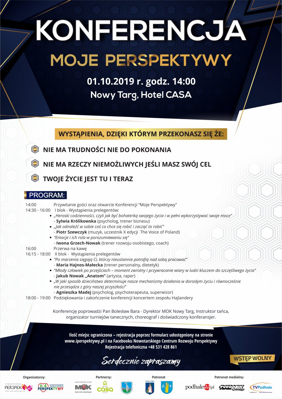 """KONFERENCJA """"Moje Perspektywy"""" – 01.10.2019 r. g. 14:00"""